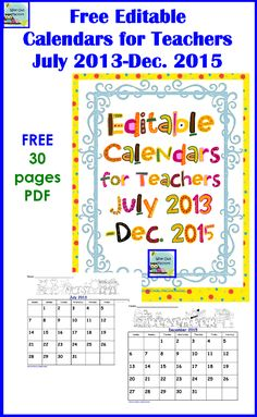 Free Editable Calendars by Carolyn from Wise Owl Factory at PreK + K Sharing