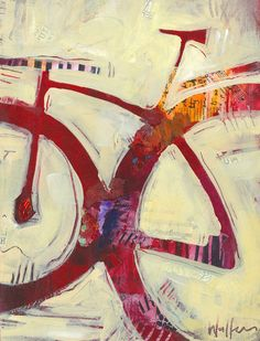 Red Mountain Bike Original Painting by ShelliWalters on Etsy https://www.etsy.com/listing/254491468/red-mountain-bike-original-painting