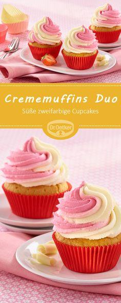 Crememuffins Duo: Süße zweifarbige Cupcakes