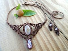 Rhodochrosite macrame necklace, micro macrame, crystal necklace, macrame tiara…