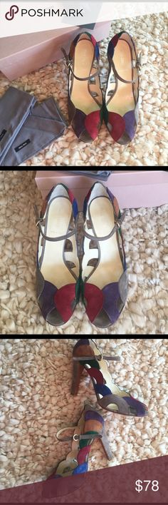 Miu Miu Calzature Donna Multicolor Suede Pumps So Beautiful! Gently worn. Never by me, only tried on. Re-Poshing only because they fit a half size small. 38 runs like a 7.5. Wear with a pleated midi skirt and modern beret for a super romantic look. Giving these up, crushes me. Comes with box, dusters, card and spare heel lifts. Miu Miu Shoes Heels