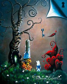 Alice In Wonderland grabados arte conejo blanco por shawnaerback, $15,00