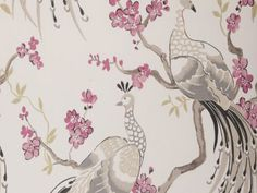 Indira Charcoal Peacock Floral Wallpaper