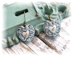Old Patina Guilloche Puffy Heart Charm Earrings
