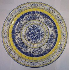 """SHABBY MOSAIC TILE SET ~ TABLE TOP  BLUE YELLOW FRENCH COUNTRY~ CHINA 15"""""""