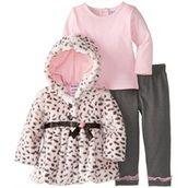 Baby Girl Pants, Girls Pants, Baby Girls, Grey Faux Fur Coat, Pink Animals, Pink Brand, Grey Leggings, Print Jacket, Outfit Sets