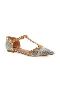 8fc7d3eeb6e938 Halogen®  Olson  Pointy Toe Studded T-Strap Flat (Women) (Nordstrom  Exclusive)