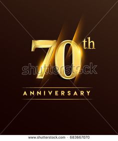 70th anniversary glowing logotype with confetti golden colored isolated on dark background, vector design for greeting card and invitation card.