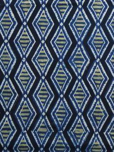 b2e0daeb33 Indigo Green Black Ajrakh Hand Block Printed Cotton Blouse Fabric - BPA015