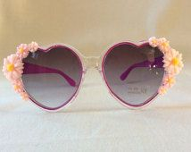 Bonnie - Embellished Purple Heart Sunglasses Glasses Pink Daisy Daisies Flowers