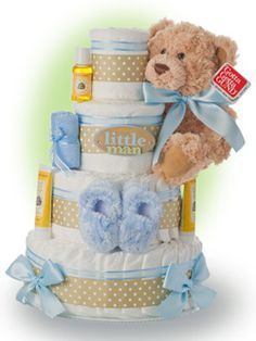 Our Mommy's Little Man 4 tier diaper cake is a sweet and elegant gift to celebrate the birth of a new baby boy. Only $96.00