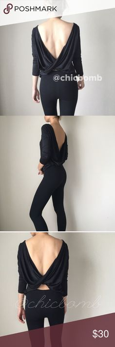 Open back long sleeve top. Open black long sleeve top. Sexy casual active leisure. CHICBOMB Tops