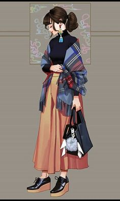 Study Drawing By Wonbin Lee Illustration Mode, Character Illustration, Character Outfits, Character Art, Fashion Art, Girl Fashion, Fashion Design, Personajes Studio Ghibli, Tmblr Girl