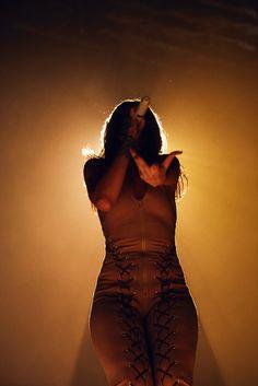 Nude heavy metal woman