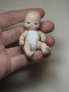 OOAK One of A Kind Miniature Jointed Clay Baby by Alliebean Dolls | eBay
