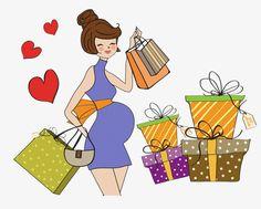 Cartoon Pregnant beauty shopping, Cartoon, Pregnant Woman, Love PNG and PSD