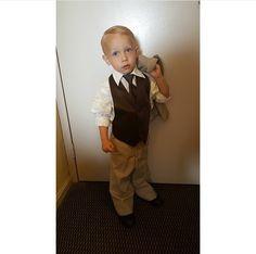 Ring bearer in tan Allure tuxedo with chocolate vest and tie Vest And Tie, Ring Bearer, Country Chic, Tuxedo, Chocolate, Chocolates, Brown