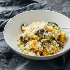 This is a must-make recipe: butternut squash risotto with mushroom, garlic, and finely grated asiago cheese. So creamy, so easy to make, and tastes amazing!