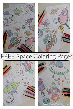 Collection of fun free printable space coloring pages for kids. With little rockets, stars, and fun solar system pictures to color, the kids will love them. Perfect for pre-school and older aged children. Use at a space themed birthday party or for simple fun at home. The instant download means the kids can start their coloring right away.