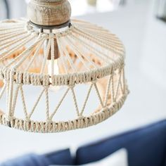 Heartily constructed from iron, rope and mango wood, our hanging pendant lends laidback, beach-inspired style to your space. E Room, Diy Chandelier, Room Goals, Flush Mount Lighting, Hanging Pendants, Light Shades, Ceiling Lamp, Hanging Lights, Pendant Lamp