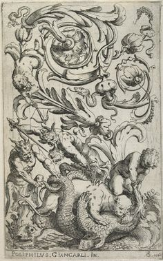 All sizes | Two Satyrs and a Child Attacking a Dragon which is Held by a Panther (1600-25) (by Fialetti after Giancarli) (Harv.) | Flickr - Photo Sharing!