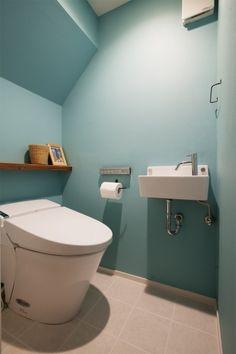 Blue wall bathroom