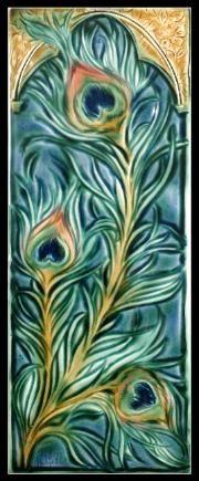 Medieval Peacock Feathers Verdant Tile 6x16 Inch Art Tile