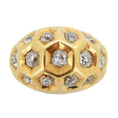 Diamond Set Honeycomb Ring By Cartier, Paris, 1944. | From a unique collection of vintage dome rings at http://www.1stdibs.com/jewelry/rings/dome-rings/