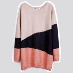 Pink Black Beige Long Sleeve Geometric Asymmetrical Sweater