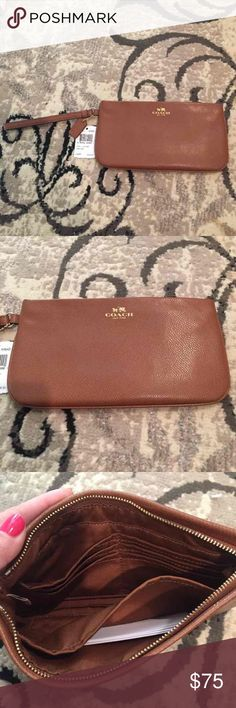 """Coach Large Brown Leather Wristlet Brand new large brown leather Coach Wristlet! Measures approx 10"""" wide and 5"""" tall! This is a bigger Wristlet! Perfect size! Retails for $125! Comes wrapped with coach box! Check out my closet too! Coach Bags Clutches & Wristlets"""