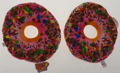 Set 2 Donuts Pink Icing Sprinkles Pillows Food Fight Soft Realistic Throw Kids #FoodFightPillows