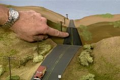 Learn how to make a model railroad road disappear into the backdrop using forced perspective and proper scaling. Model Training, Forced Perspective, Standard Gauge, Making A Model, Hobby Trains, Ho Scale Trains, Model Train Layouts, Classic Toys, Scale Models