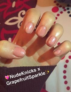 CND shellac: Nude Knickers x Grapefruit Sparkle! Done @ home with home kit.