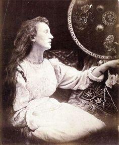 Julia Margaret Cameron:  Elaine the Lily maid of Astolat' (Illustration to Tennyson's Idylls of the King and Other Poems),1874. Sitter is May Prinsep.