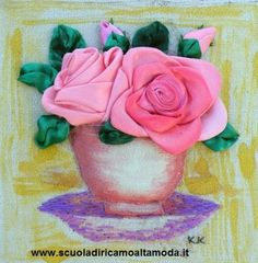 Silk ribbon embroidery roses by Fashion embroidery school in Rome, for info end courses visit: www.scuoladiricamoaltamoda.it