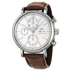 IWC Portofino Silver Dial Chronograph Brown Leather #Mens #Watch