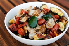 Grilled Vegetable Salad - Zucchini, Eggplant, Onions, Garlic, Tomatoes...you could probably add some Mushrooms, Asparagus...and many more veggies if you like others :)