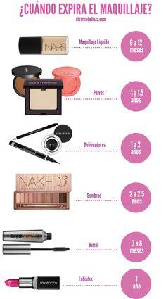 Sabes ¿ Cuándo expira el #maquillaje ? En esta lista puedes ver rapidamente esos productos y su tiempo aproximado de vida. Para leer mas puedes entrar aqui: http://distritobelleza.com/cuando-expira-el-maquillaje/