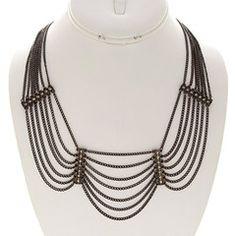 After Dark Hematite and Rhinestone Statement Necklace-$31.50-Find hot fashion jewellery and statement jewlry at Strike Envy. #jewellery #jewlry