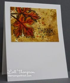 Stamps:  Gently Falling (SU!); Lots of Thanks (Simon Says) Paper:  White card base (Neenah); Watercolor (Arches 140 lb. cold press) Ink:  Archival Black (Ranger); Distress inks:  Antique Linen, Brushed Corduroy, Vintage Photo, Walnut Stain, Spiced Marmalade, Ripe Persimmon, Fired Brick Accessories & Tools:  Waterbrushs, water mister, heat tool, paint brush for splattering