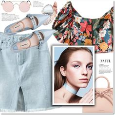 Floral crop top by duma-duma on Polyvore featuring moda, Miu Miu, Mansur Gavriel, Too Faced Cosmetics and Maybelline