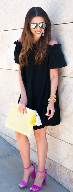#spring #outfits  Black Off The Shoulder Dress + Pink Sandals + Yellow Clutch