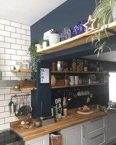 Kitchen Remodel Ideas - Browse our kitchen renovation gallery with traditional to modern to beachy kitchen design inspiration. Navy Kitchen, Kitchen Living, Rustic Kitchen, Kitchen Decor, Kitchen With Blue Walls, Kitchen Ideas, Kitchen Wall Storage, Metro Tiles Kitchen, Kitchen Wall Colors