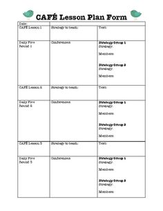 Daily 5 lesson plan template cafe daily five pinterest for Daily five lesson plan template