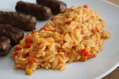 Risotto in paprika sauce Veggie Recipes, Vegetarian Recipes, Pesto Pasta, Risotto, Main Dishes, Food Porn, Food And Drink, Veggies, Yummy Food