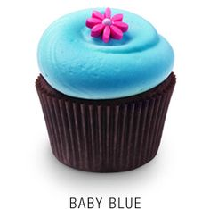 Georgetown Cupcake's Baby Blue  - Baby blue-tinted traditional sweet vanilla buttercream frosting on a madagascar bourbon vanilla or valrhona chocolate cupcake topped  with a fondant flower