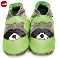 Inch Blue Mädchen/Jungen Schuhe für den Kinderwagen aus luxuriösem Leder - Weiche Sohle - Waschbär Grün - Kinder sneaker und lauflernschuhe (*Partner-Link)