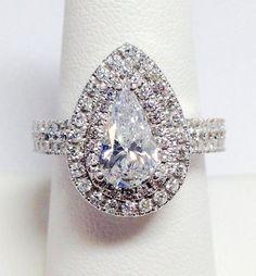 Diamond Pear Shape Double Halo Engagement by FineJewlers Beautiful Wedding Rings, Wedding Rings Vintage, Vintage Rings, Pear Wedding Ring, Diamond Wedding Rings, Wedding Bands, Pear Ring, Bridal Rings, Halo Diamond
