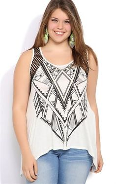 Deb Shops plus size #tribal tank $16.42 <- waaant, but I don't think they'd have it in my size...