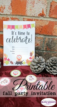 Printable fall party invitation   Celebrate an autumn birthday, decorate the kids' table for Thanksgiving, or enjoy any other fall gathering with this pretty invite featuring fall colors and woodland creates /// Link to matching party printables too!